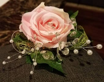 Pink Tea Rose Corsage with Ivy