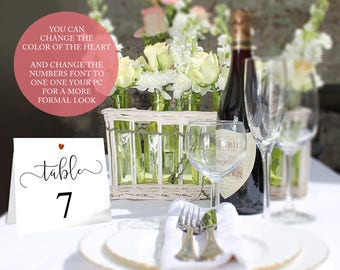 "Printable wedding table numbers templates with an optional heart motif, 3.5"" when folded 