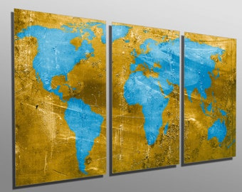 Blue world map etsy metal prints gold and light blue world map 3 panel split triptych gumiabroncs Gallery