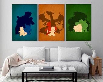 Pokemon posterPokemonsBulbasaur  Charmander Squirtle Poster Set Wall art Gamer gift Pokemon poster SET Pokemon art Pokemon print & Pokemon wall art | Etsy