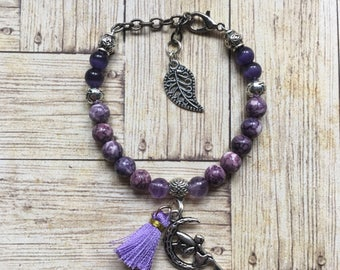 Bracelet Bohemian purple beads with tassel and fairy