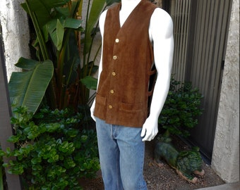 Vintage 1960/70's Dark Brown Suede Vest with Open Sides - Size Large