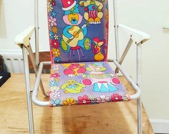 Vintage child's chair - use as dolls chair - teddy bear chair - vintage 60s 70s cartoon fold up deck chair