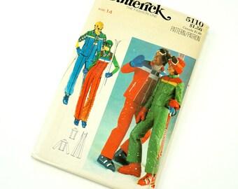 Vintage 1970s Womens Misses Size 14 Groovy Ski Jacket, Vest and Jumpsuit Butterick Sewing Pattern 5110 FACTORY Folds / bust 36 waist 28