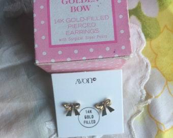 SALE! NIB Vintage Avon Golden Bow 14k Gold-Filled Pierced Earrings, 1978