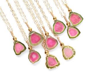 Watermelon Tourmaline Pendant Tourmaline Necklace  Pink & Green Slice Gold filled Tourmaline Crystal October Birthstone Tourmaline Jewelry