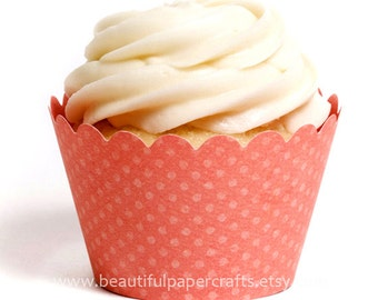 Coral Cupcake Wrappers, Beach Coral Wedding cupcake wrappers, set of 12