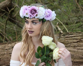 Mixed purple and white flower crown, flower garland, Lana Del Ray, Wedding headpiece, nature inspired, vintage inspired, rustic rose, love.
