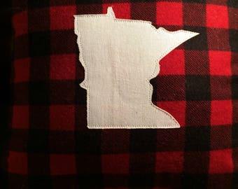 Minnesota Plaid Flannel Pillow Handmade Red and Black Buffalo Plaid