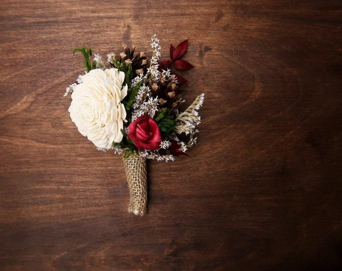 Ivory brown burgundy green rustic wedding woodland BOUTONNIERE groom Sola Flower dried limonium cypress pine cones burlap