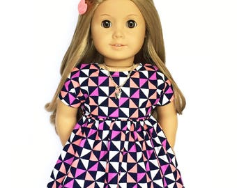Dolman Dress, Triangle, Navy Blue, Coral, Pink, White, Short Sleeve, Fall, American, 18 inch Doll Clothes