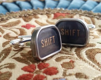Silver Shift Cuff Links, Antique Men's Jewelry, Typewriter Key Cufflinks, Vintage Shift Keys, Cuff Links, Mens Cuff Links, Gift Idea for Man