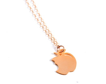 Gold apple necklace Etsy