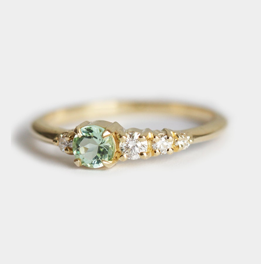 engagement gemstone rings green cocktail emerald tourmaline cut halo diamond ring with