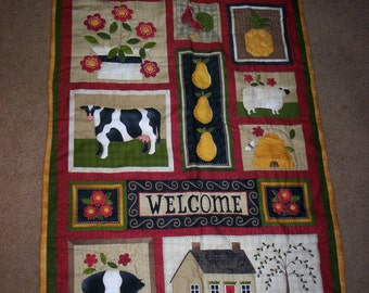 Hand Quilted Country Farm Wall Hanging