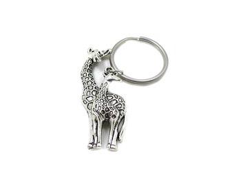 Mom and Baby Giraffe Keychain, Giraffe Key Ring, Giraffe Keychain, Giraffe Gift, Wildlife Keychain, Silver Giraffe, Giraffe Charm Keychain