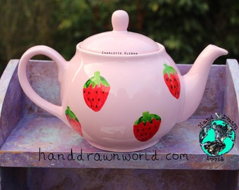 Hand drawn pink teapot, strawberries, strawberry, gifts for her, fruit, Summer, picnic