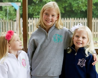 Girls Monogram Quarter Zip | Girls Sweatshirt | Youth Monogram Sweatshirt | Children's Personalized Clothing Kids Sweatshirt, Girls Pullover