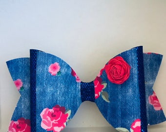 X-Large Denim Flower Faux Leather  Fabric and Blue Fine Fine Fabric Hair Bow with Rose for Girl, Girls, Toddlers, Women