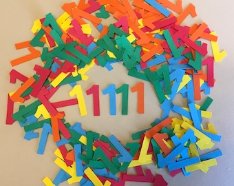 250 1 inch Blue, Red, Green, Orange and Yellow Number 1 Confetti Cricut Die Cuts