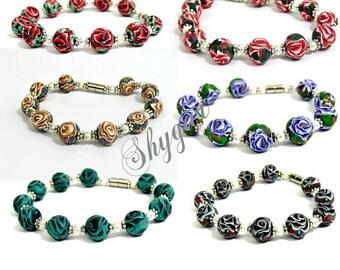 Dark red rose bracelet, red and white rose bracelet, Gold rose bracelet, Purple rose bracelet, Turquoise bracelet, black rose bracelet