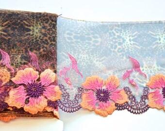 Leopard Skin Lace Trim, Floral Animal Print Lace Trim, Orange Flowered  Leopard Lace Lace, Lingerie, Lace Fashions, Lace Decor