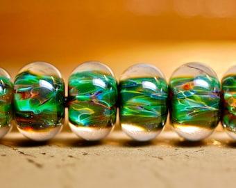Handmade lampwork glass beads boro bead set of 6 in Amazon Greens ooak lampwork glass beads boro encased beads paulbead