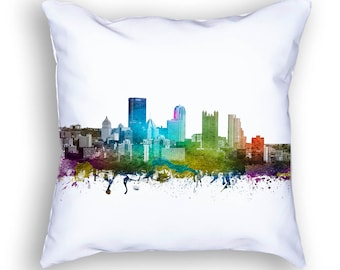 Pittsburgh Pillow, 18x18, Pittsburgh Skyline, Pittsburgh Cushion, Pittsburgh Pillow, Throw Pillow, Home Decor, Gift Idea, Pillow Case 01