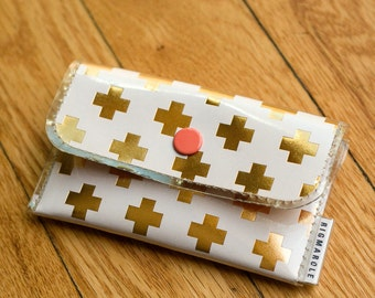 Gold Plus Patterned  - Business Card Wallet