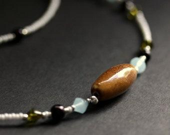 Earthy Eyeglass Chain Brown Badge Lanyard Light Blue Glasses Necklace Silver Eyeglass Holder Green Beaded Lanyard Handmade Badge Necklace
