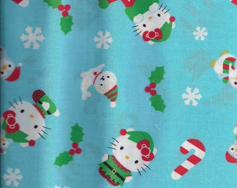 New Blue Hello Kitty Christmas 100% cotton fabric by the 1/2 yard