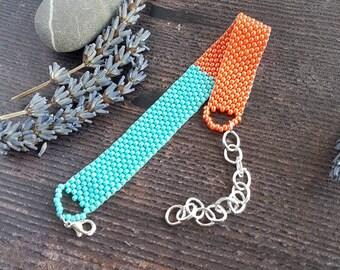 Bright Beaded Bracelet- blue and orange
