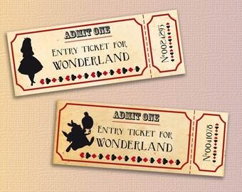 Alice in wonderland tickets printable - Instant download alice in wonderland printable ticket - alice in wonderland birthday party