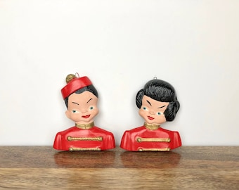 Vintage Wall Hanging | Set of 2 Ceramic Chinese Boy & Girl | Mid Century Home/Wall Decor