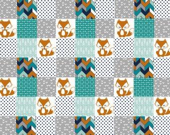 Tribal Baby Quilt, Fox Baby Blanket, Boy Nursery Bedding, Patchwork Crib Quilt, Baby Boy Quilt, Modern Baby Blanket, Minky Baby Blanket