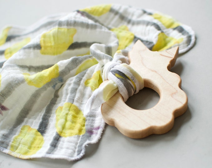 Featured listing image: Heirloom Berry Teether /// Maple Hardwood and Organic Cotton Lovey