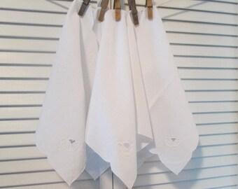 Five Vintage White Cotton Napkins - Small White Luncheon Napkins - White On White Applique/ Cutwork - Vintage Table Linens