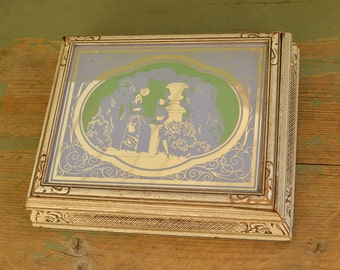 Jewelry Box, Carved and Mirrored Top Vintage Jewelry Box, Vintage Reverse Painted Mirror,  Keepsake Box