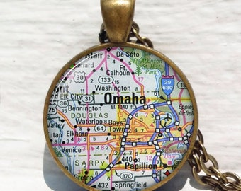 Omaha map pendant, Omaha map necklace, map jewelry Omaha pendant Nebraska map, Omaha pendant keychain key chain key fob