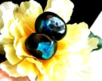 Blue Glass Clip On Earrings Dalsheim Signed Vintage Earrings Dalsheim Clip On Earrings Dark Blue with Neon Blue Glass Earrings