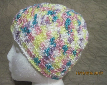 soft, light and airy beanie in aqua, pink, lilac, yellow and white