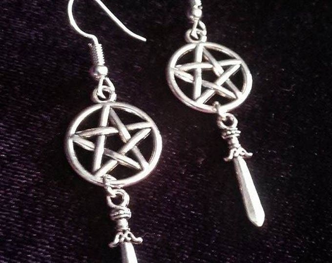 Wicca Athame earrings - wicca  wiccan gothic athame witchcraft  occult  witch magic pagan paganism  pentagram