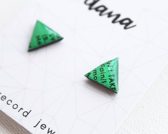 green stud earrings triangle studs recycled vinyl record earrings green post earrings funky studs music jewelry unique handmade jewelry