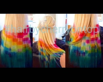 Lightest Blonde Pixelated Rainbow Ombre Clip-in Hair Extensions