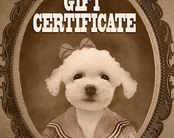 GIFT CERTIFICATE for one Custom Vintage Pet Portrait - You Print, Fast Gift, Last Minute Gift, Pet Lover Gift, Funny Gift