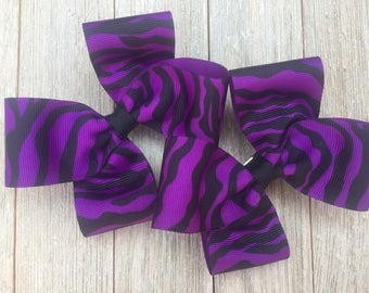Zebra Hair Bows,Pigtail Hair Bows,French Barrettes,4-4.5 Inches Wide,Zebra Striped Bows