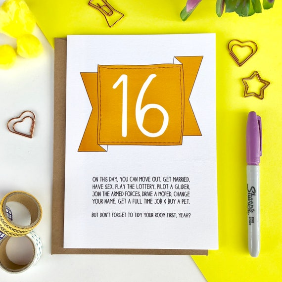 Funny 16th birthday card 16th birthday card funny 16th card like this item bookmarktalkfo Choice Image