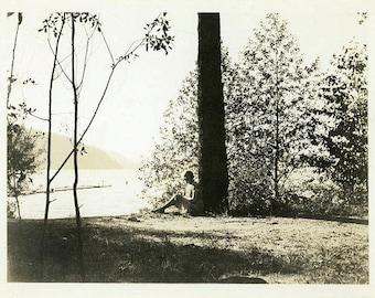 "Vintage Photo ""Her Timeout Tree"" Snapshot Antique Black & White Photograph Paper Found Ephemera Vernacular Interior Design Mood - 180"
