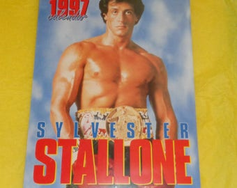 Sylvester Stallone 1997 Oliver Books Calendar Film Memorabilia Full Page Pics Movie Star Vintage Collectable Rambo Rocky Action Hero Muscle