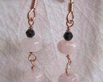 Morganite & black spinel earrings